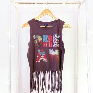 RUE 21 Brown Fringe Dream Sleeveless Shirt Top
